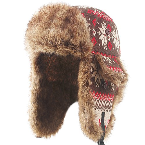 Fur Aviator Hat - Janey&Rubbins Unisex Winter Knit Russian Ushanka
