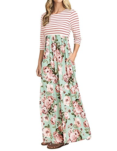 Mint Tie Waist Dress - MEROKEETY Women's Striped Floral Print 3/4 Sleeve Tie Waist Maxi Dress with Pockets