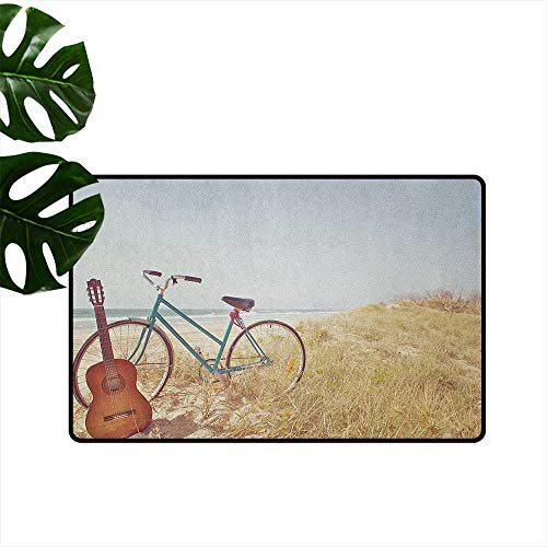 RenteriaDecor Vintage,Entrance Rug an Old Guitar and a Vintage Bike Standing in The Beach Vacation Enjoy Summer Photo Art 18