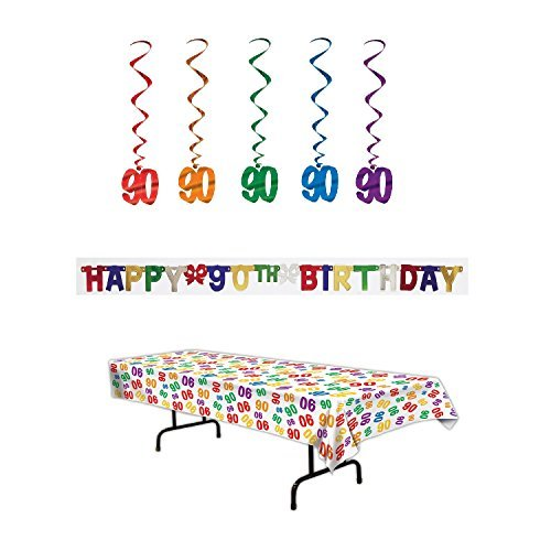 90th Birthday Party Decoration Kit: Bundle Includes Banner, Table Cover, and Whirls