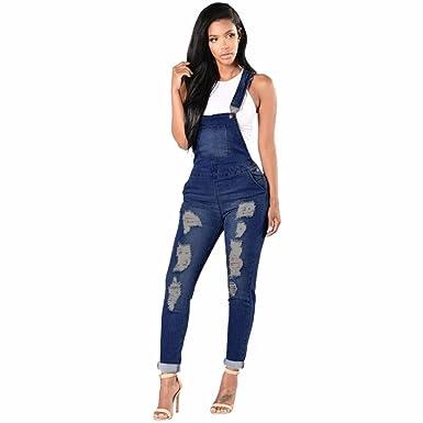 da34aea12a61 Wolfleague ÉTé Combinaison Femme Denim Grande Taille Bleu Salopettes pour  Femmes Casual Trou DéChiré Un Pantalon