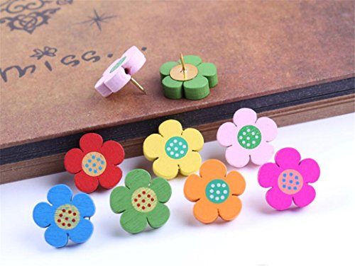 Dry Erase Flower Board (Decorative Cute Cartoon Animal Push Pins for Home & Office Thumbtacks Travel Map Tacks for Cock Board Whiteboard Wall (5pcs Flowers))
