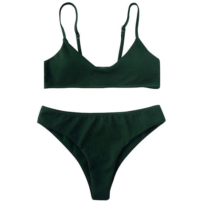 e44d8aee06 ZAFUL Women's Solid Color Padded Two-Piece Bikini High Cut Bralette Bikini  Set Swimsuit Beachwear