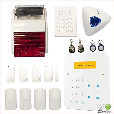 Seguridad Mania A9-Alarma GSM inalámbrica para el hogar con ...