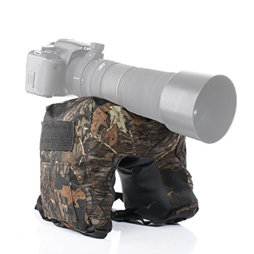 Movo Photo THB03 Camouflage Camera Lens Bean Bag with Head Mounting Plate - Deep Woods (Junior)