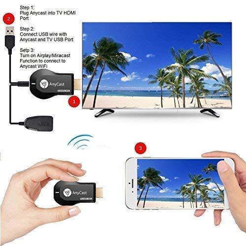 Anycast Pantalla inalámbrica Dongle 1080P Adaptador HDMI Palillo de TV Transmisión Multimedia Desde la PC del teléfono a HDTV Proyector Moniter: Amazon.es: ...