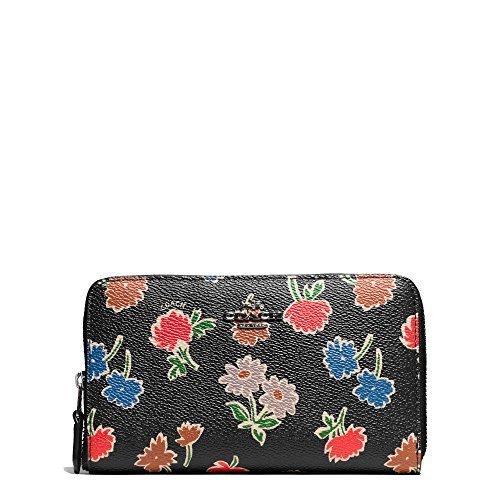 Coach Daisy Field Print Black Medium Zip Around Wallet. Style 55880 SVLGV