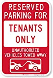 SmartSign'Reserved Parking For Tenants, Unauthorized Vehicles Towed' Sign | 12' x 18' 3M Engineer Grade Reflective Aluminum