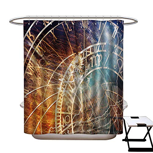 (BlountDecor Astrology Shower Curtains Digital Printing Travel Design Ancient Old Town Prague Horoscope Clock Czech Republic Art Print Satin Fabric Bathroom Washable W72 x L72 Multicolor)