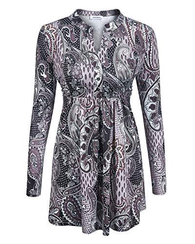 Women Blouse Tassel Patchwork,NOOBLEMOON Women's Long Sleeve Mandarin Flower Print Collar Shirt Pleated Button Flare Hem Tunic Tops XL Size Grey