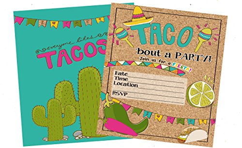 Fiesta Taco Party Suppy Invitations with Envelopes (Set of 12)
