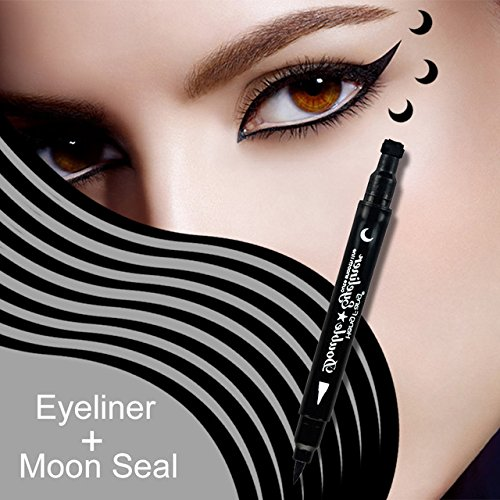 MIOBLET 1PC Super Double-headed Black Liquid Eyeliner Pencil Pen Waterproof Star Heart Moon Flower Shape Seal Stamp Tattoo Eyes Liner Makeup (Moon Seal) (Moon Tattoos Star)