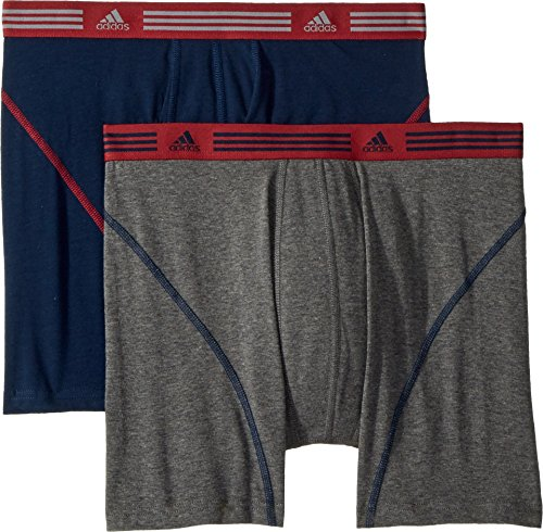 - adidas Men's Athletic Stretch Boxer Brief Underwear (2-Pack), collegiate navy/Noble maroon heather/dark grey, Large