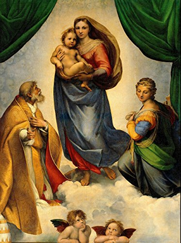 Sistine Madonna POSTER A3 print Cherub Two Angels picture painting Catholic Religious Wall Art Christian Decor for ()