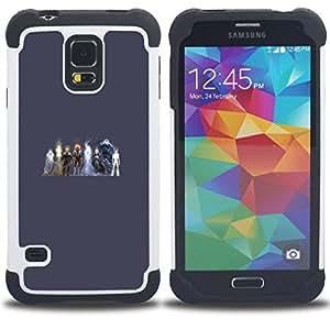 """SAMSUNG Galaxy S5 V / i9600 / SM-G900 - 3 en 1 impreso colorido de Altas Prestaciones PC Funda chaqueta Negro cubierta gel silicona suave (Elementos Heros"""")"""