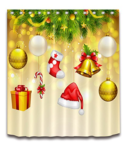 - Merry Christmas Season Eve New Year Decorative Decor Gift Shower Curtain Polyester Fabric 3D Digital Printing 72x72