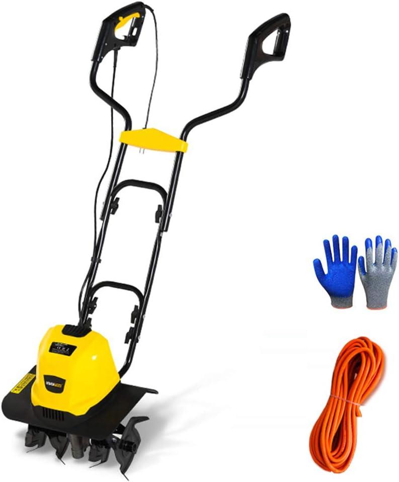WAWZNN Escarificador Eléctrico 1500W Escarificador de Césped con Guantes de Jardín y Cable de Alimentación de 10 m, 4 Hojas de Acero, Ancho de Trabajo de 32 cm, Rastrillo de Jardín Eléctrico