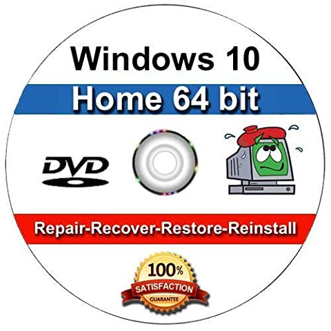 Windows 10 Home 64-Bit Install   Boot   Recovery   Restore DVD Disc Disk Perfect for Install or Reinstall of Windows