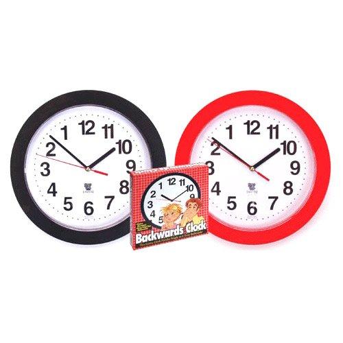 Black Backwards Wall Clock, Runs Counterclockwise and - Backwards Clock