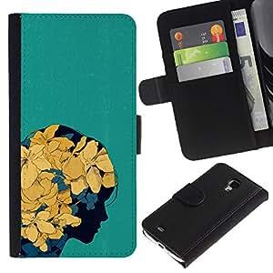 Paccase / Billetera de Cuero Caso del tirón Titular de la tarjeta Carcasa Funda para - Floral Spring Yellow Flowers Girl Art - Samsung Galaxy S4 Mini i9190 MINI VERSION!