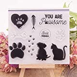 YULEKITO Cute Cat Dog Best Friends Clear Stamps for
