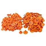 BQLZR 3 x 2.5cm Orange Plastic 1-100 Number Round Shape Livestock Ear Tag For Pigs Sheep Goats Dogs Pig Pack of 100