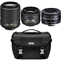 Nikon Super Three Lens Starter Bundle - 35mm, 50mm, & 55-200mm Zoom Lens (Certified Refurbished) AF-S DX NIKKOR 55-200mm f/4-5.6G ED VR II, 50mm F/1.8 D AF, AF-S DX 35mm F/1.8G Lens & Deluxe SLR Bag