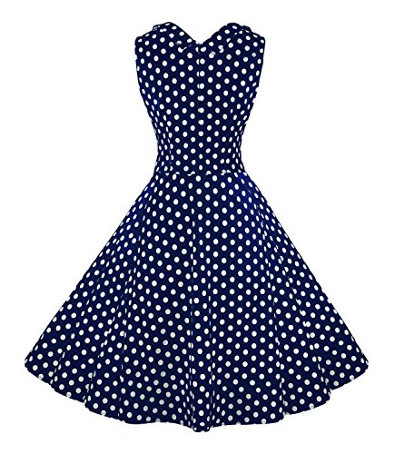 Cocktail Killreal Out Neck s V Women Cut 1950s Swing Casual Dress Blue Vintage Party gxwgqZavS