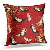 Emvency Throw Pillow Cover Red Jaguar Fashionable Stiletto Heels Leopard Decorative Pillow Case Home Decor Square 20 x 20 Inch Pillowcase