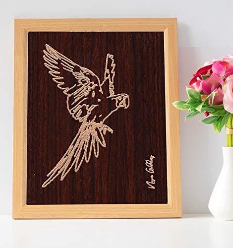 Cabin Art Macaw Parrot Bird Framed Art Carved Wood Wall Art Gift Wall Decor Office Decor Rustic Decoration Home Decor