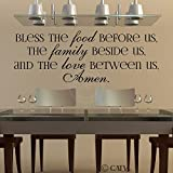 Bless the Food Before Us, the Family Beside Us, and the Love Between Us, Amen Vinyl Lettering Wall Decal (Style A 16.5