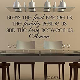 Bless The Food Before Us, The Family Beside Us, And The Love Between Us, Amen vinyl lettering wall decal (Black, 16.5x47)