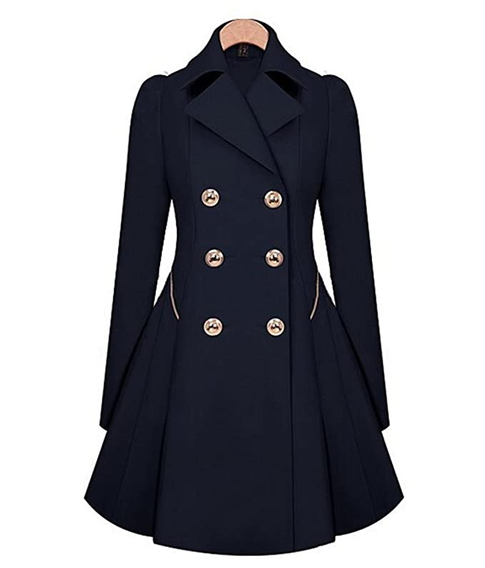 Vintage Coats & Jackets | Retro Coats and Jackets H&N HN Women Warm Slim Elegant Long Trench Coat Jacket Double Breasted Pea Overcoat $43.85 AT vintagedancer.com
