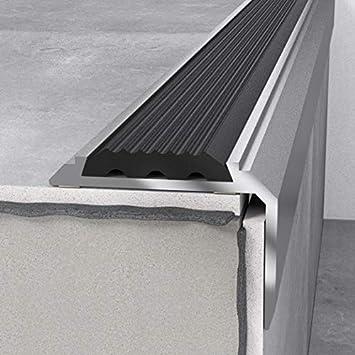 Perfil para escaleras, 46 x 30 x 1200 mm, plateado, con inserto, borde de escalera, perfil de aluminio, ángulo de escalera: Amazon.es: Bricolaje y herramientas