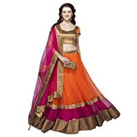 Generic Women's Net A-line Semi-Stitched Lehenga (Orange_Free Size)