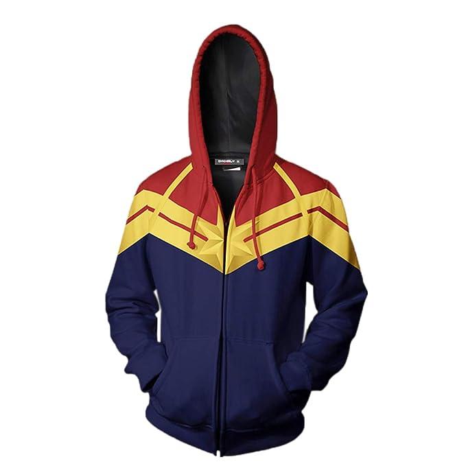 Captain Marvel Sudaderas sin Capucha Carol Danvers The Avengers Sudaderas Cremallera con Capucha con Bolsillo Superhéroe