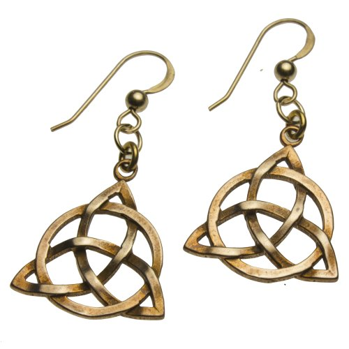 Delicate Celtic Trinity Knot Peace Bronze Earrings on French Hooks