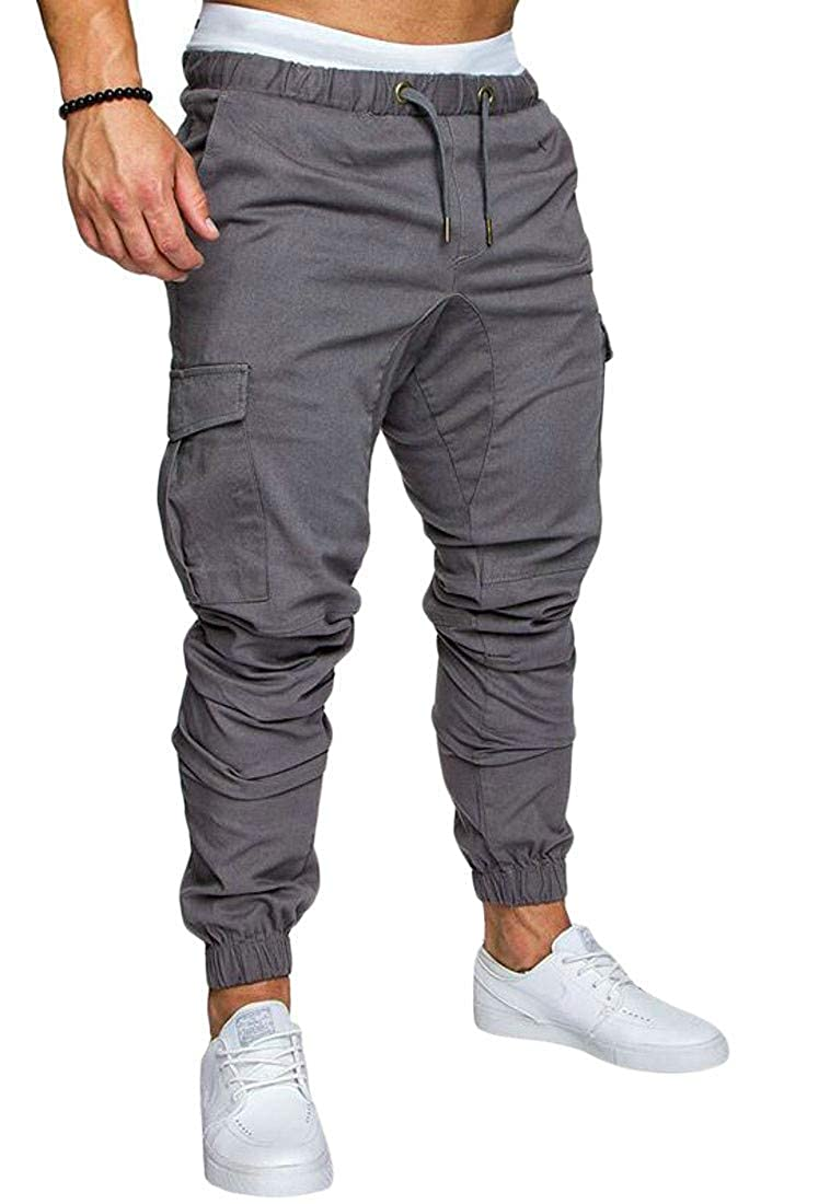 Joe Wenko Men Fit Elastic Waist Athletic Casual Jogger Cargo Pull On Pants