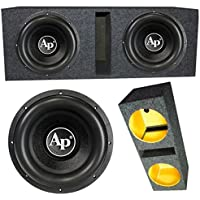 2 Audiopipe TXXBD412 12 4 Ohm 4400W MAX Dual Enclosed Car Subwoofer Pair & Box