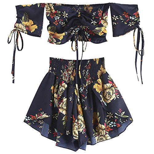 (ZAFUL Women's Two Piece Off Shoulder Floral Smocked Crop Top and Shorts Set (Midnight Blue, 2XL))
