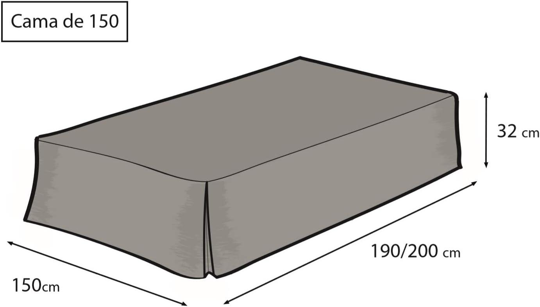 Easycosy - Cubre Canapés para Somier ATENEA Faldon para Cama 150 cm Cubrecanape - Color Crudo (150x190/200cm)