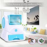 blue--net Portable Air Conditioner Fan USB/Battery Operated Desktop Mini Fan, Perfume Aroma Cooling Fan, Mini Cooling Bladeless Desktop Table Fan for Office Home Outdoor Travel (Blue)