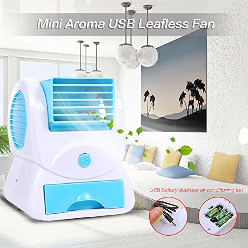 Portable Mini Perfume Aroma Cooling Fan, Aroma Air Conditioner Mini Perfume Aroma Cooling Bladeless USB/Battery Powered Desktop Table Mini Fan for Office Home Outdoor Travel (Blue)