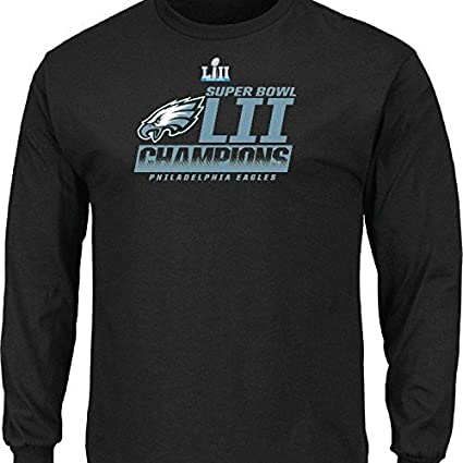 003a29820 Philadelphia Eagles 2018 Super Bowl Champions Fanfare Black Long Sleeve T- Shirt Pro line NFL