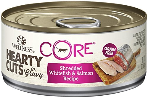 Wellness Core Hearty Cuts Natural Canned Grain Free Wet Cat Food, Whitefish & Salmon, 5.5-Ounce Can (Pack Of 24)