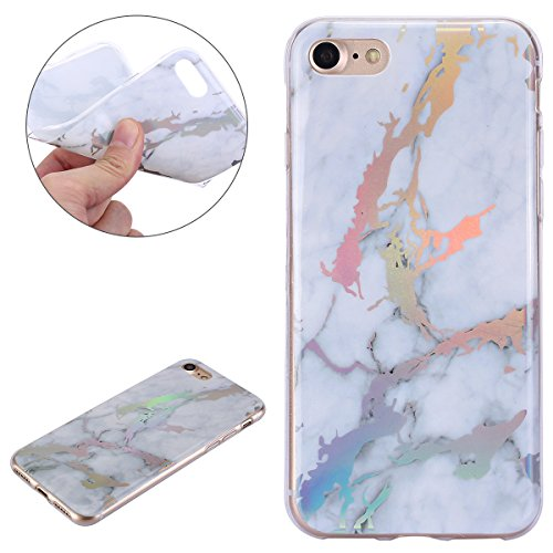 Price comparison product image iPhone 7 Case,iPhone 8 Case,IKASEFU Bright IMD White Marble Pattern Design Soft Slim Shockproof Flexible TPU Silicone Rubber Protector Clear Bumper Case Cover for iphone 7/8