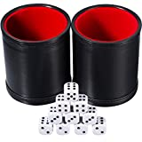 Hestya Bundle of 2 PU Leather Dice Cup Set with 10 Dot Dices for Playing Games (Black)