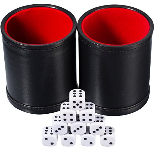 (Hestya Bundle of 2 PU Leather Dice Cup Set with 10 Dot Dices for Playing Games (Black))