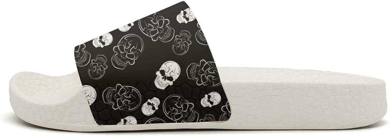 MIJIIE Mens Slides Shoes Funny Black Skull Pattern Sandals EVA Bedroom Flip Flops