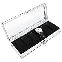 6-slot Aluminum Watch Box with Metal Lock Large Holder Watch Case Organizer Wristwatch Windowed Travel Box Container for Men Women